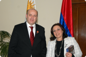 Social Democrat Hunchakian Party Central Committee Chair Mr. Hagop Dikranian with Ms. Ana Olivera, the Intendant (Mayor) of Montevideo. (June 22, 2015)