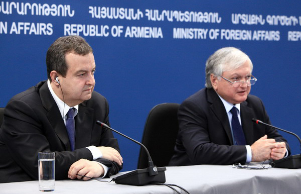 RA Minister of Foreign Affairs Edward Nalbandyan and OSCE Chairperson in Office, Serbian Foreign Minister Ivica Dacic gave a joint press conference