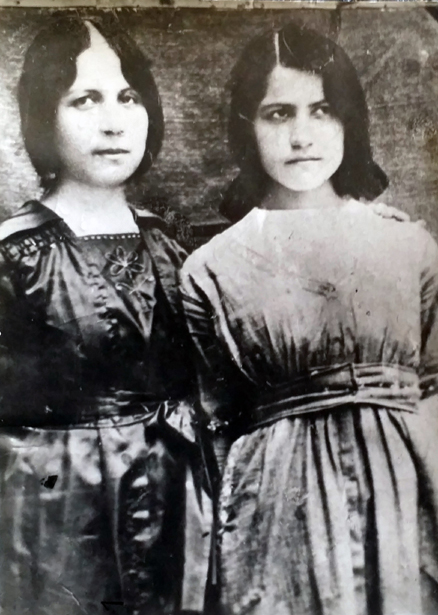 Donor's mother Elmas (right) and aunt (Varter) prior to arriving in the United States from a Lutheran orphanage in Karpert