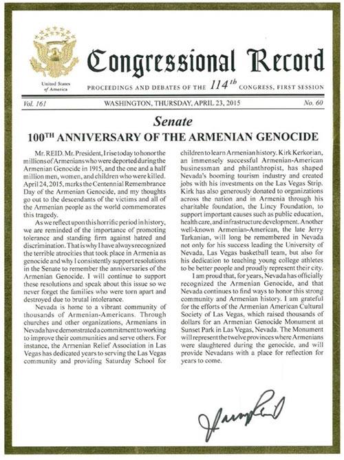 Armenian Genocide Centennial Record