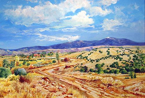 Richard Tashjian, A northern New Mexico, Landscape 18x24  in. , oil on board