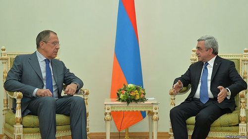 President Serzh Sarkisian (R) meets with Russian Foreign Minister Sergey Lavrov, Yerevan, Nov 9 2015