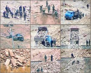 Azeri Soldiers vandalizing Nor Jugha cemetery in Nakhijevan