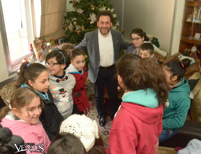 Rev. Haroutune Selimian with the Children of the Armenian Orphanage in Aleppo.