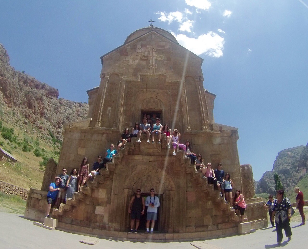 SERVICE Armenia participants touring at Noravank on the way to Artsakh.
