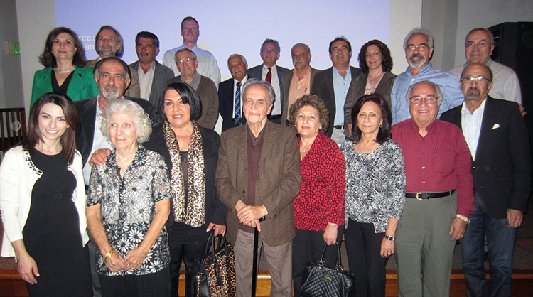 Conference attendees and speakers, including Zaruhy Sara Chitjian (first row, second from left), Kristine Martirosyan-Olshansky (first row, far left), Dr. Marco Brambilla (first row, far right), and Dr. Bert Vaux (back row, fourth from left).   Photo by Edward Hayrapetian