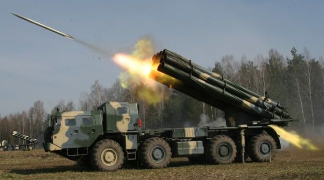 Russian Smerch rocket launchers
