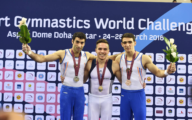 Rings event winners: Vahagn Davtyan Eleftherios Petrounis and Artur Tovmasyan