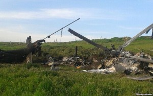 wreckage of Azeri Military Helicopter Shot down on April 2