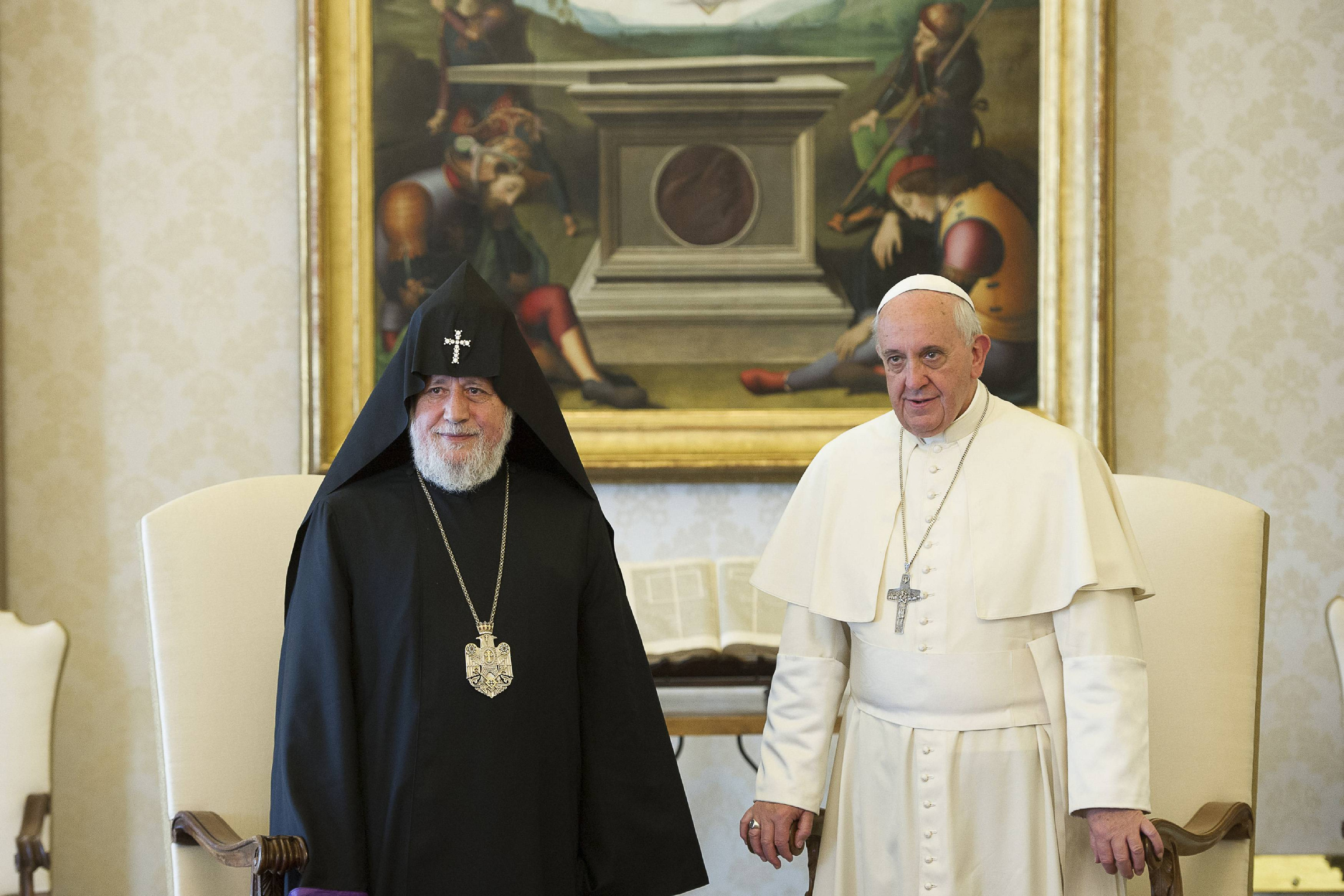 Catholicos Karekin II of Etchmiadzin, patriarch of the Armenian Apostolic Church, and Pope Francis pose for a photo during a meeting at the Vatican May 8. (CNS photo/L'Osservatore Romano via Reuters) (May 8, 2014) See POPE-ARMENIAN May 8, 2014.