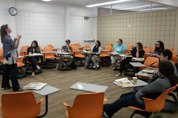 Associate Program Director for Los Angeles and Organization Innovation at Facing History and Ourselves, Mary Robinson Hendra, providing instruction on the Armenian Genocide to southern California-based high school teachers.