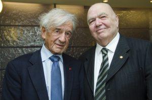 Nobel Peace Prize Laureate Elie Wiesel and UCLA Professor Emeritus of History Richard Hovannisian at Chapman University in 2013.